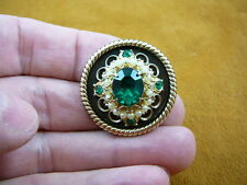 (br-105) Green stone white faux pearls brass pin pendant brooch fashion jewelry