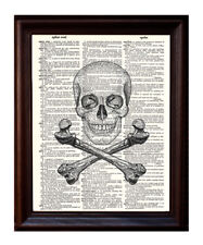 Skull and Crossbones - Dictionary Art Print Printed On Authentic Vintage