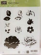 Stampin Up STIPPLED BLOSSOMS clear mount stamps flower stem silhouette rose