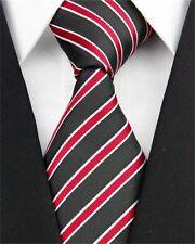 GIFTS FOR MEN Classic Mens Wide Striped Silk Stripe Necktie Tie Black Red White