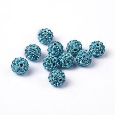 12 unidades pedrería perlas beads perlas Shamballa Aquamarine 10 mm (1214)