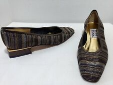 NEW Timothy Hitsman 6 M Multi-Color Stripe Fabric & Leather Round Toe Heels
