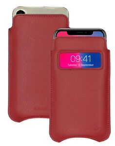 For Apple iPhone X/Xs Case Red Faux Leather NueVue Screen Cleaning Sanitizing