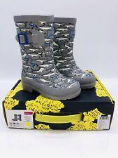 Joules Toddler Kids' Boys Welly Rain Boots Grey Stripe Shark US 9
