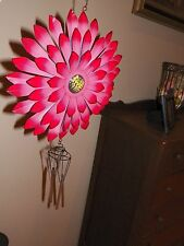 3D Metal Flower Wind Chime Garden Decoration Porch Patio ~- New ~ Pink/Red Tips