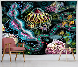 Fantasy Mystery Underwater Creatures Tapestry Wall Hanging Living Room Bedroom