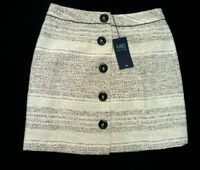 """M&S Collection Size 10 Button Front Textured Cotton Mini Skirt 17""""L Bnwt Ivory"""