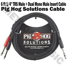 """Pig Hog 6 ft 1/4"""" TRS Stereo Male to Dual 1/4"""" Mono Male Insert Cable Audio NEW"""