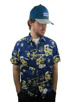 Men's Hawaiian Camp Shirt Medium Floral Hibiscus Aloha Vintage Hilo High School