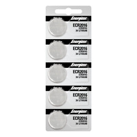Energizer ECR 2016 Lithium (LiMNO2) Coin Cell Batteries - 5 Pack Tear Strip