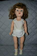 "Vintage Antique Collector Doll Hard Plastic Sleep Eyes 19"" Brown Hair Blue Eyes"