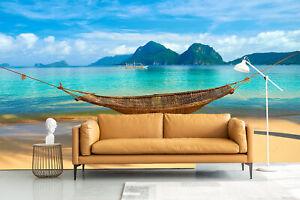 3D Sea Beach Hammock Living Room Wall Murals Sticker Sofa Background Wallpaper