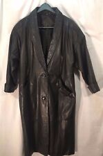 Jacqueline Ferrar black leather shawl collar long coat, dropped shoulder, PMed
