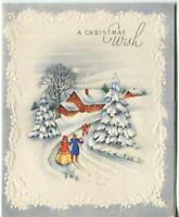 VINTAGE CHRISTMAS WHITE SNOW BLUE VICTORIAN COUPLE ORANGE HOUSE GREETING CARD