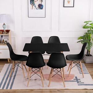 Esstisch mit 6 Stühlen Schwarz Esszimmertisch Küchentisch Tisch Stuhl Essgruppe