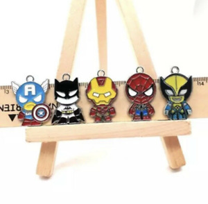 marvel superheroes enamel pendants-jewellery making supplies-batman, spiderman
