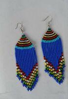 masaai masai maasai Kenyan African long blue beaded earrings