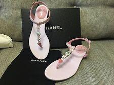 NIB Chanel 17C Pink Silver Tweed Thong CC Charms Sandal Flip Flop Flat 40.5C