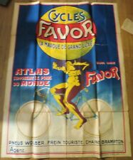 CYCLES FAVOR grande affiche ancienne Atlas supportant le poids du monde