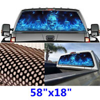 """22/""""x65/"""" Flaming Skull Rear Window Tint Graphic Decal Wrap Back Truck Tailgate"""