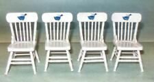 4 WHITE CHAIRS WITH DUCK DESIGN DOLL HOUSE FURNITURE MINIATURES