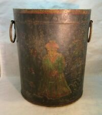 Antique Chinese hand painted metal tole trash can or bucket