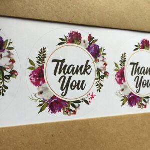 Purple peonies wreath THANK YOU circle 37mm 45mm round stickers wedding label