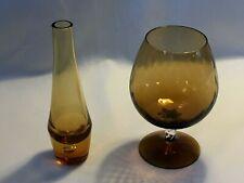 Retro Amber Twisted Stemmed Brandy Glass Goblet & Amber Single Flower Vase