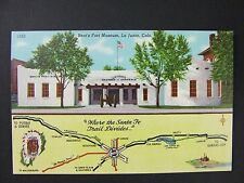 La Junta Colorado CO Bent's Fort Museum Santa Fe Trail Linen Postcard 1930-45
