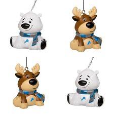 Detroit Lions 4 Pack Reindeer & Polar Bear Christmas Tree Holiday Ornament New