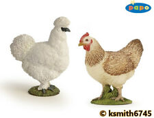 Papo RED HEN & SILKIE CHICKEN solid plastic toy pet farm BIRD animal * NEW 💥