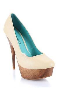 Fahrenheit Style Hugo 13C Beige Round Toe Platform Stiletto Pump High Heel Shoes
