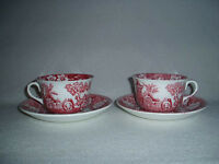 2 Pink Red Transferware Cups & Saucers Britannic Pottery Hanley #1
