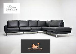 Willi Schillig Designer Sofa Leder Ecksofa Schwarz Couch XXL Wohnen Sitz Kissen