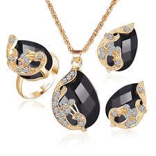 diamante OR NOIR MARIAGE NOCES Set collier boucles d'oreilles réglable bague