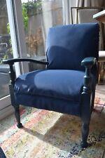 Vintage low armchair, deep blue, solid wood, reupholstered in faux nubuck suede