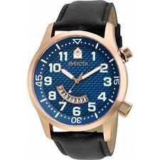 Reloj de Cuarzo de especialidad Invicta Para Hombre Correa De Cuero Negro Esfera Azul 30821