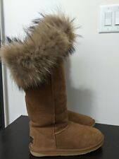 Australia Luxe Collective Foxy Tall Chestnut Brown Fur Sheepskin Suede Boots 9M