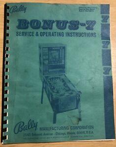 Original Official Bally Bonus-7 Bingo Pinball Service and Operating Instructions