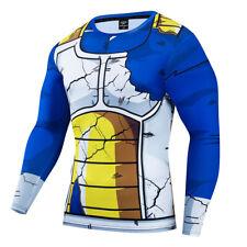 Men 3D Print T-shirt Vegeta Dragon BallCosplay Compression Workout Fitness Top