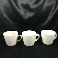 Set of 3 Vintage DELCO ALTANTIC CHINA Heavy White Restaurant Ware Coffee Mugs