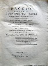 1822 – PASQUALE DA MAROLA, SAGGIO DELLA VITA DE' CAPPUCCINI LIGURI – GENOVA