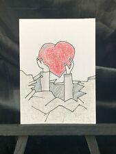 ACEO Original Found My Heart Medium Black Ink Marker & Prismacolor on Paper Sign