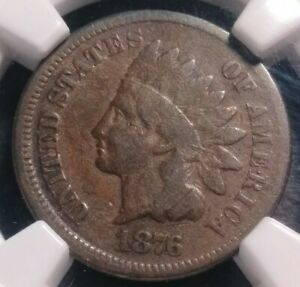 NGC VG8 BN 1876 Indian Head Cent 1c - Very Good - Problem Free Original