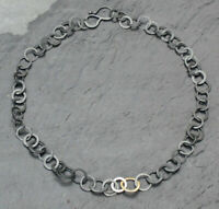 BEAUTIFUL PENNY PRICE HANDMADE OXIDISED SILVER/18 CT GOLD CHAIN NECKLACE BNIB