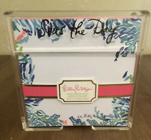 Lilly Pulitzer Seas The Day Collection List Pad Acrylic Pink Blue Note Holder