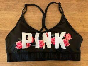 PINK Victoria's Secret Bold Logo LARGE Ultimate Light Lined Racerback Sport Bra