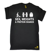 Sex Weights Protein Shakes Gym Training T-SHIRT Body Building Muscle birthday