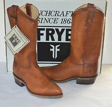 New $298 Frye Billy Pull On Cognac Brown Leather Cowboy Boots sz 8.5 Vintaged