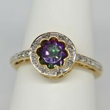 Mystic Topaz Diamond Ring Heart Filigree 14K Yellow Gold Size 7